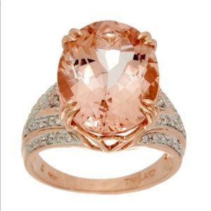 Morganite & Diamond Wedding Ring 7cts